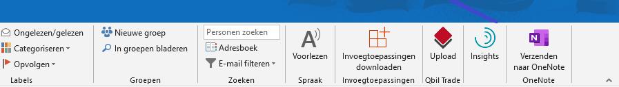 Outlook add-in voor Qbil Trade